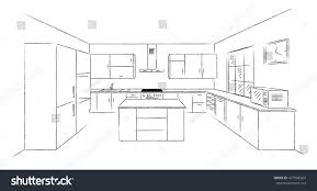 draw kitchen floor plan sketch hand drawing kitchen interior plan stock vector 437968264