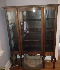 antique curio cabinet with curved glass vintage curio cabinet polyflow