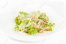 classical cuisine the caesar salad prepared on the classical recipe stock photo
