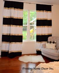 Home Decor Inc Custom Black White And Gold Striped Curtains Color Blocked