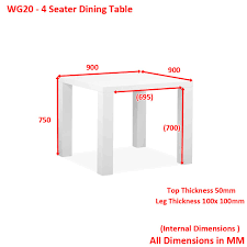 white high gloss square 4 seater dining table