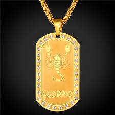 Photo Engraved Dog Tags Aliexpress Com Buy Zodiac Charms Scorpio Pendant Necklace Women