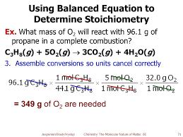 using balanced equation to determine stoichiometry