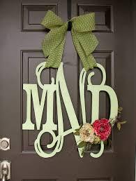 monogram wreath wooden monogram door hanger wreath custom initial burlap bow decor