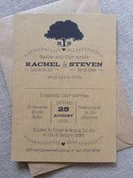 Shabby Chic Wedding Invitations by Personalised Wedding Invitations Rustic Vintage Kraft Brown Tree