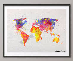 World Map Art Print by Aliexpress Com Buy Diy Original Watercolor World Map Wall Art