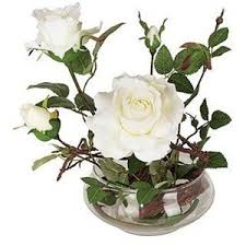 Vases Of Roses White Roses In Low Glass Vase Faux Flower Arrangement Lamp