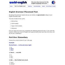 english grammar placement test pearltrees