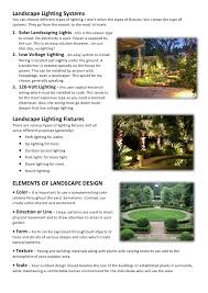 different types of outdoor lighting landscaping design