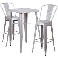 Indoor Bar Table Flash Furniture 23 75 Square Silver Metal Indoor Outdoor Bar