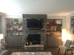 Fireplace Base Stone Our Beautiful Reclaimed Wood Floating Shelves Flanking Stone