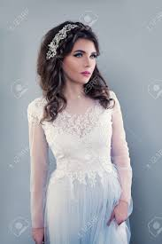 hairstyle for evening event beautiful young woman wearing evening gown perfect bride with