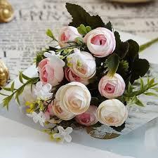 artificial flowers for home decoration light pink xm 10 heads silk tea rose home decoration artificial