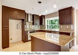 cuisine brun brun cabinets salle moderne mat granit brillant images