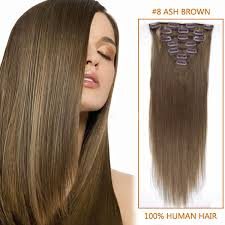 real hair extensions clip in inch clip in real human hair extensions 8 ash brown