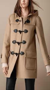 burberry brit check lined duffle coat in natural lyst