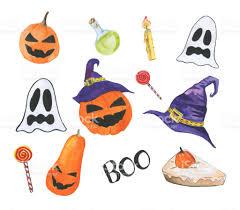 happy halloween pic happy halloween watercolor set stock vector art 827991860 istock