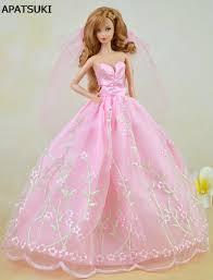 aliexpress com buy pink pretty wedding dress for barbie dolls