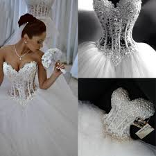 sparkly crystal ball gown corset wedding dress with beadings