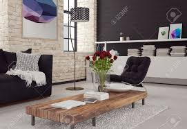 3d modern living room interior in black and white decor with
