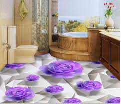 aliexpress com buy 3d floor wallpapers purple roses romantic