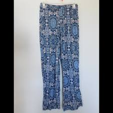 pattern pajama pants 57 off pants blue white pattern palazzo pajama pants from