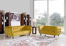 avro mid century yellow fabric loveseat