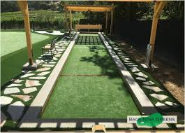 Small Backyard Putting Green Backyards Terrific Artificial Grass Used For A Custom Bocce Ball