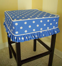 Ikea Bar Stool Covers Square Barstool Slipcover Blue Dots Bar Stool By Applecatdesigns