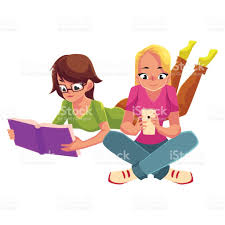 two girls siting crossed legs reading book using mobile phone