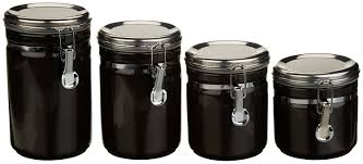 black canisters for kitchen amazon com anchor home collection 4 piece ceramic canister set