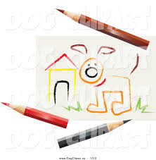 vector clip art of a sketch of a dog by a house with colored