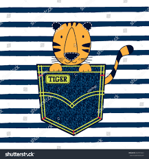 cute tiger pocket on striped background stock vector 632977643