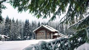 Winter Houses Houses Lovely Log Home Winter House Forest Logs Photo Gallery For