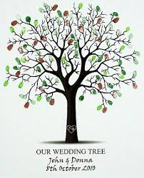 wedding tree small personalised fingerprint wedding tree free pen ink pad