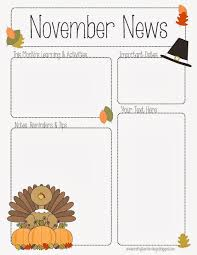 november newsletter for preschool pre k kindergarten and all