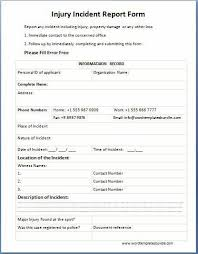 injury incident report template injury incident report form