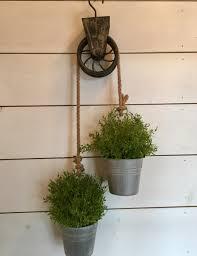 hanging pots greenery orb rustic arrangement primitive decor