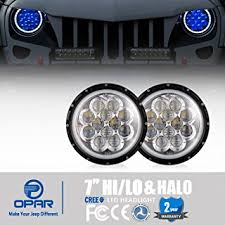 blue jeep amazon com opar 7 inch led halo headlights with blue drl