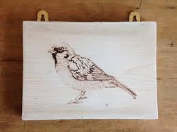 artwork on wood buy sparrow artwork on reclaimed wood from katharina illustration