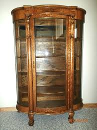 antique curio cabinet with curved glass oak curio cabinets with curved glass imanisr com