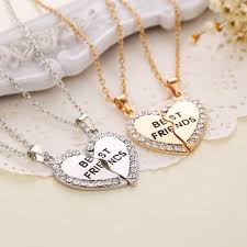 heart chain necklace silver images Wholesale best friends heart pendants necklace silver chain jpg