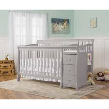 White Convertible Crib With Drawer by Dream On Me Brody 4 In 1 Convertible Crib With Changer Pebble