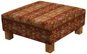 ottoman with patterned fabric square traditional patterned fabric upholstered ottoman with short