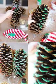 glitter pine cone craft idea for spaceships and