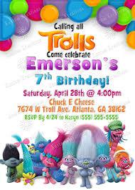 Invitation Card Party Birthday Trolls Birthday Invitations Troll Party Birthdays And Birthday