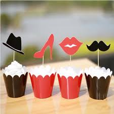 classic lips mustache heels hat design cupcake wrappers