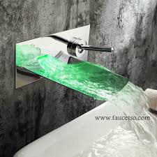 Designer Bathroom Faucets Colors Chrome Finish Color Changing Led Waterfall Wall Mount Bathroom
