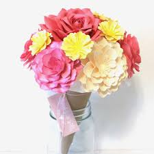 paper flower bouquet small flourish paper flower bouquet pinks yellow gift
