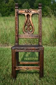 Wood Dining Chairs Reclaimed Colombian Hardwood Dining Chair With Fleur De Lis Detail